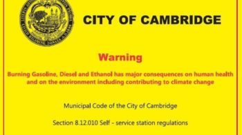 Massachusetts city to post climate change warning stickers at gas stations